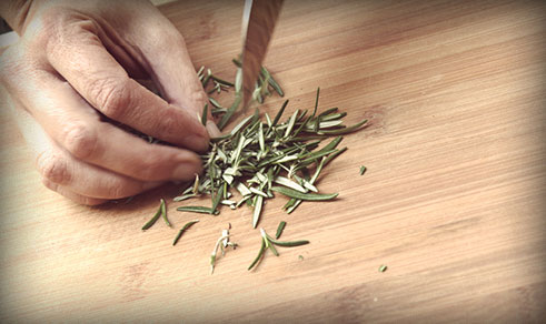 Chopping Rosemary